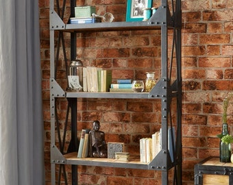 Ascot large bookcase - Reclaimed metal and wood - Handmade