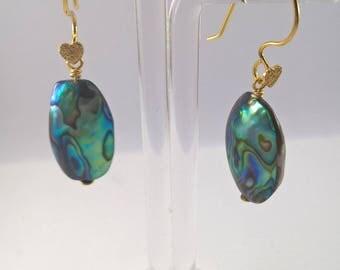 Abalone Shell earrings, Paua Shell earrings, Rose gold and Abalone earrings, Abalone Shell, Abalone gold plated earrings, paua earrings.