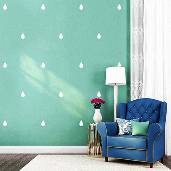 Nursery Decor Rain Drop Vinyl Wall Decal Sticker Set - Peel and Stick Set of 91 Rain Drop Stickers - Wall Pattern Decals - Vinyl Wall Decals