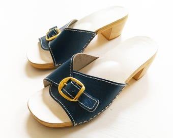 70s ShoeS size 3 VinTage peep Toes 36 CloGs reTro KlaPpeR CoaCheLLa 70er