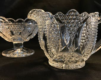"""EAPG """"HIGH HOB"""" Scalloped Cream and Sugar Bowl by Westmoreland Glass c. 1907 - 1927"""