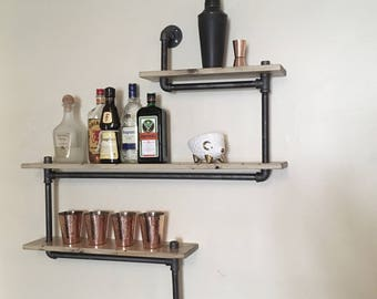 Industrial Shelf - Piping Bar Shelf - Wall Shelf - 3 Tiered Shelf