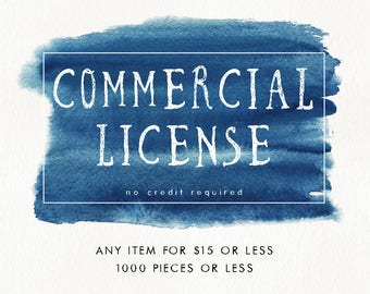 Commercial License for single item, no credit required, 1000 pieces