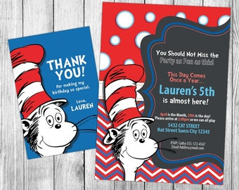 Cat in the Hat Invitation, Cat in the Hat Birthday, Cat in the Hat Invite, Cat in the Hat Party, Printables, Custom, FREE 4x6 Thank You Card