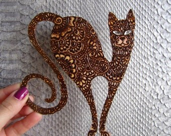 "Crafts,souvenirs,gift,""Indian cat"", Henna painting,home decor"