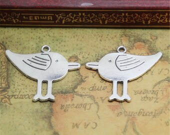 10PCS Lovely Bird charms silver tone Cute Bird Pendants / Charms 33x27mm ASD0693