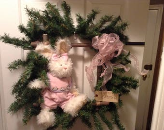 Pink Easter Bunny Square Wreath