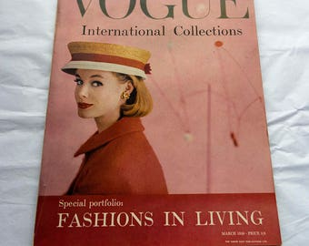 Vintage Vogue Magazine March 1959 (UK Edition) Fab Henry Clarke Cover International Collections
