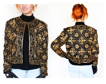 Boxy 80's SCALA GLAM sequin Embellished Trophy Jacket GOLD Black