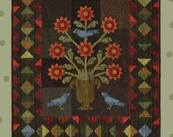 Wool Applique Quilt Pattern from All Through The Night by Bonnie Sullivan Floral Wall hanging 40 x 48