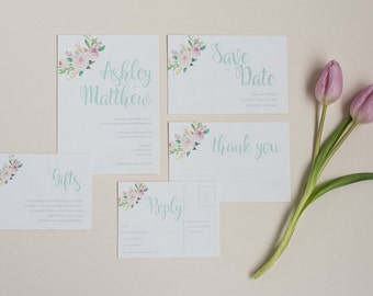 Floral Pastel Wedding Invitation and RSVP - Mint Wedding Invitation - Spring Floral Wedding Invite - Floral Wedding Stationery