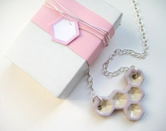 Chain ceramic Silver 925 cream / pink honeycomb 2