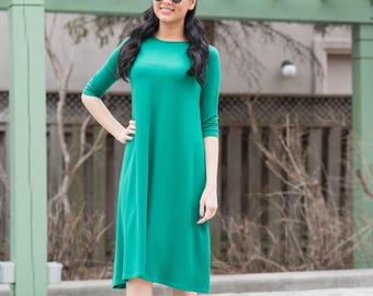 KMW Ladies Tunic Dress, Midi Dress, Casual Dress, Modest Dress, Dress with sleeves, green