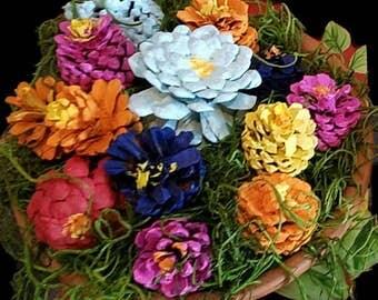 Handmade pinecone flower bouquet