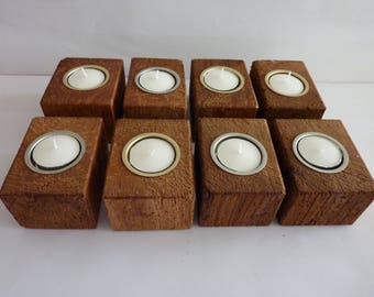 Wooden Handmade Recycled Ash Tea Light Candle Holders,Ideal Gift for all occasions.