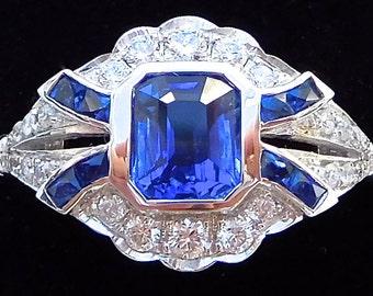 18ct Sapphire & Diamond Art Deco style Ring, vintage ring, antique ring, 1920s style, blue sapphire, sapphire and diamond engagement ring,