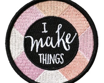 I make things - Iron on embroidered patch Pink