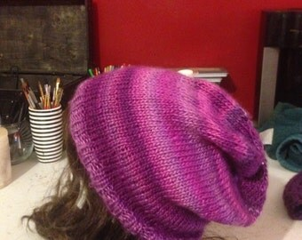 Multicolor Pink Slouchy Beanie