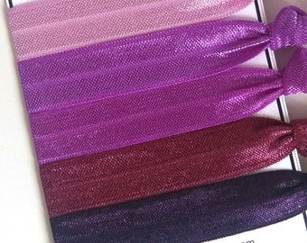 Purple Hair Ties, Purple Ombre Hair Ties, Elastic Hair Ties, Ponytail Holder, Party Favors, Bachelorette Party, Ties & Elastics
