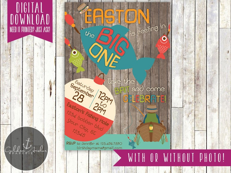 The Big One Fishing Birthday Big One Fishing Invitation – The Big One Birthday Invitation