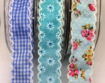 Pretty cotton Ribbons, Crochet edge, in pretty blues, sewing inspirationb, floral, gingham, sold by the meter