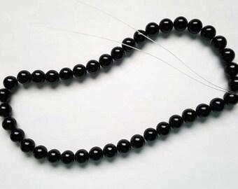 10mm round black jade beads 16 inch strand