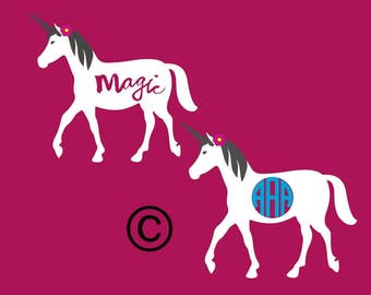 unicorn monogram  SVG Clipart Cut Files Silhouette Cameo Svg for Cricut and Vinyl File cutting Digital cuts file DXF Png Pdf Eps
