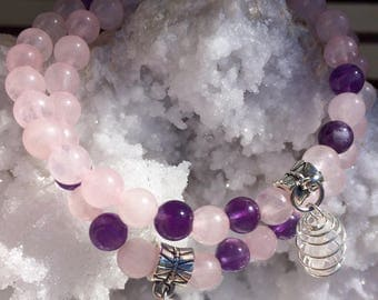 Genuine Rose Quartz and Amethyst 6mm Stretch Bracelet with a Dangling Cage Wire Wrapped Clear Quartz Crystal