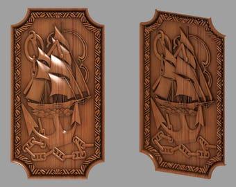 "3d STL Model for CNC  Router Engraver Carving Machine Relief Artcam Aspire ""Ship 1"""