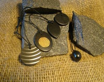 Shungite pendants set of 5 pieces of Karelia.