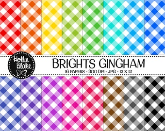 Buy 1 Get 1 Free!! 16 Bright Gingham Digital Paper • Rainbow Digital Paper • Commercial Use • Instant Download • #GINGHAM-102-B