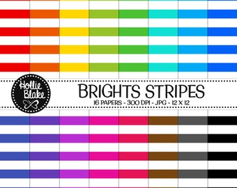 Buy 1 Get 1 Free!! 16 Bright Stripes Digital Paper • Rainbow Digital Paper • Commercial Use • Instant Download • #STRIPES-106-B