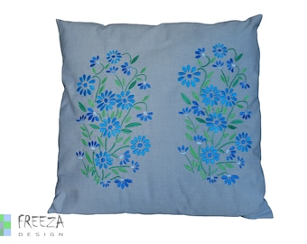 Embroidered flower pillow cover handmade eco-friendly cotton blue jeans