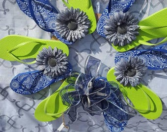 Handcrafted flip flop wreath 2