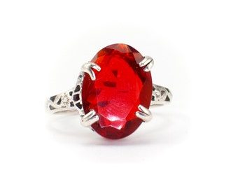 Beautiful Sterling Silver Filigree Oval Cut Garnet Ring - Antique Inspired, Hand Made - Size 7 #614