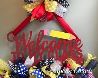 SALE Teacher Door Wreath, Teacher Gift, Wreath for Door, Teacher Appreciation Gift
