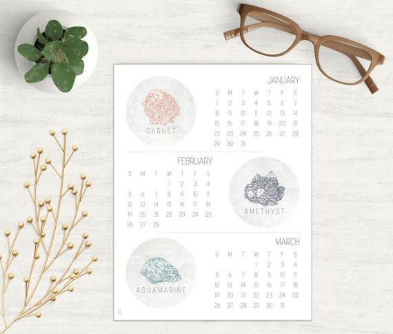 2017 Stone Calendar PDF, Calendar for Men or Women, 2017 Crystal PDF, 2017 Geometric Calendar, 3 Month Calendar PDF, 2017 Geometric pdf