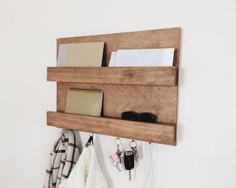 Mail Organizer, Key Rack, Coat Rack, Key Holder, Mail Wall Organizer, Entry Shelf, Rustic Entry Shelf