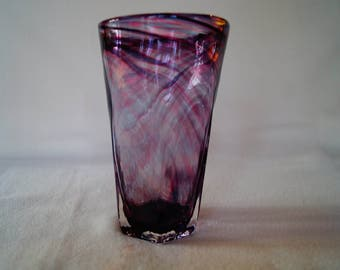 23 - Unique hand-blown drinking glass tumbler cup purple, blue, and pink swirl pattern