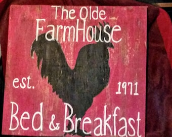 Rooster sign, bed and breakfast sign, farmhouse sign, wooden sign, rooster wooden sign, kitchen sign