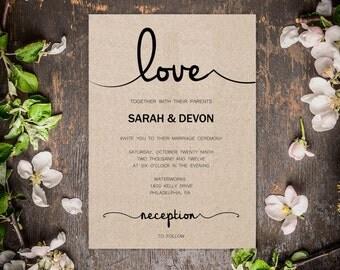 Love - Rustic Wedding Invitation Template