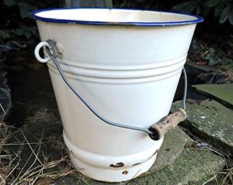 Shabby chic small enamel white bucket
