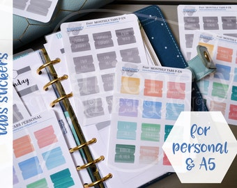 Montly tabs for A5 and personal planners - Watercolor colorful and neutral tabs for planners - Stickers for Kikki k, Filofax