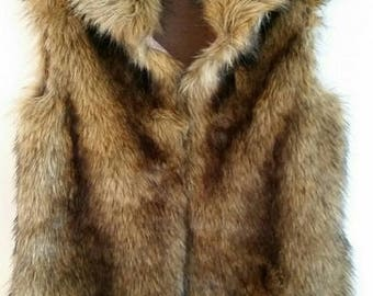 Brown Coyote Faux Fur Vest with Silk Lining
