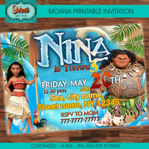 Disney Moana Birthday Invitations