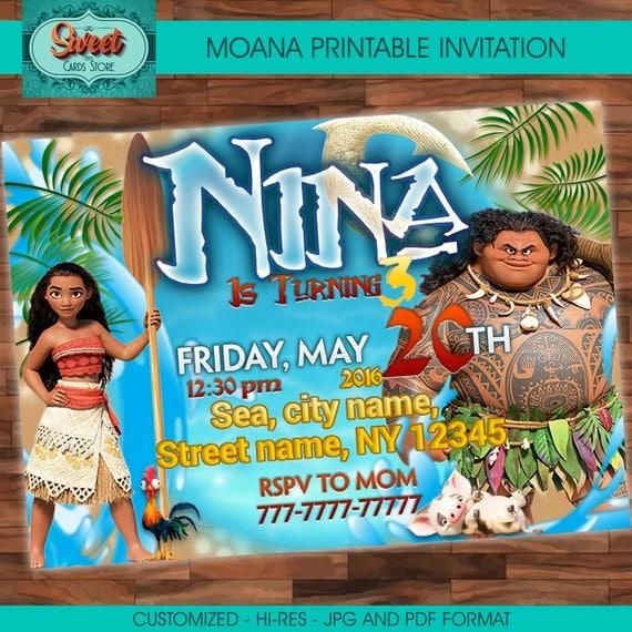 Disney Moana Printable Birthday Photo Invites Invitations