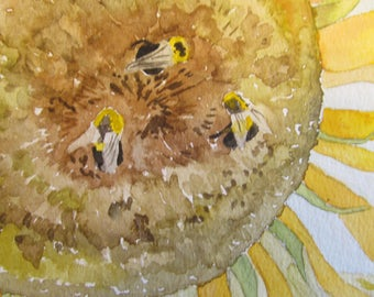 Sunflower & bees 9x12 watercolor print