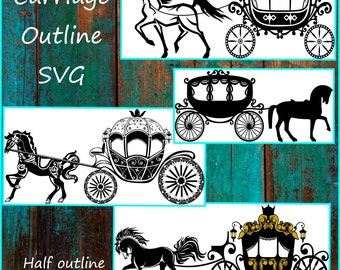 Carriage SVG - Princess Carriage Svg - Horse & Buggy Svg - Designs made for Cricut and Silhouette