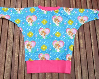 One of a kind! Sweet Longsleeve bat shirt Gr. 110/116 Princess Emmy with horses. Handcrafted