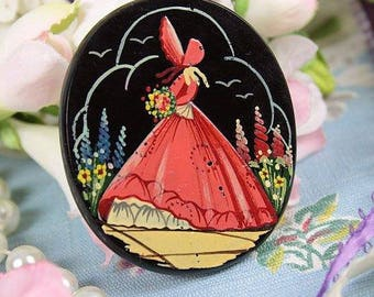 1930s Hand Painted Crinoline Lady Brooch